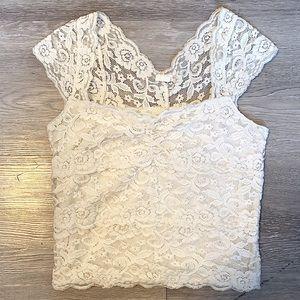 Garage White Lace Off-shoulder Tank Cami sSmall